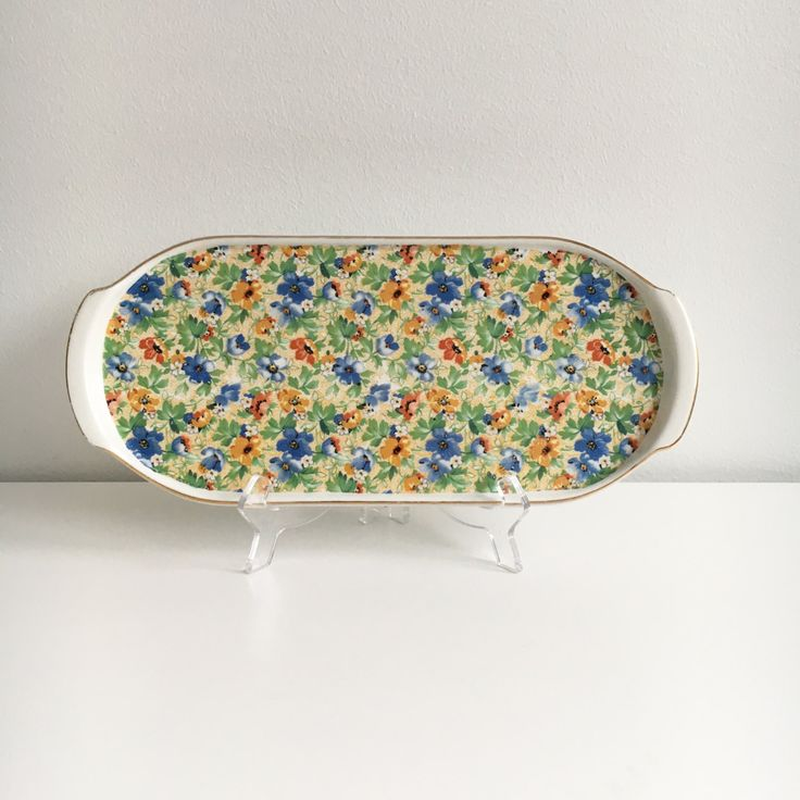 Rare vintage Arabia Finland  flower ceramic tray, made in Finland in 1962 by FinnishVintageOasis on Etsy