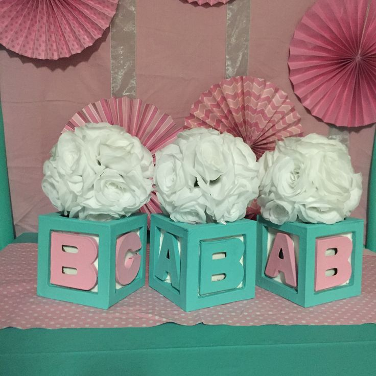 Baby & Co Block Centerpiece With Flowers