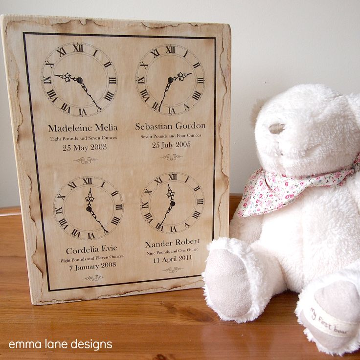 Keepsake Block – Four Children | Emma Lane Designs.  Why have 4 keepsakes when you can have them all on one! £23.50 Features the time of birth, date, weight and name of each child.