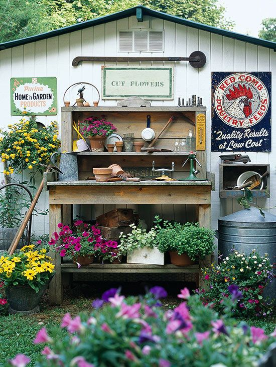 Turn a ho-hum garage or shed into a work of art by adding a collection of your favorite vintage items.