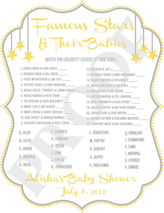 """Baby Shower Celebrity Matching """"Twinkle Twinkle Little Star"""" Theme"""