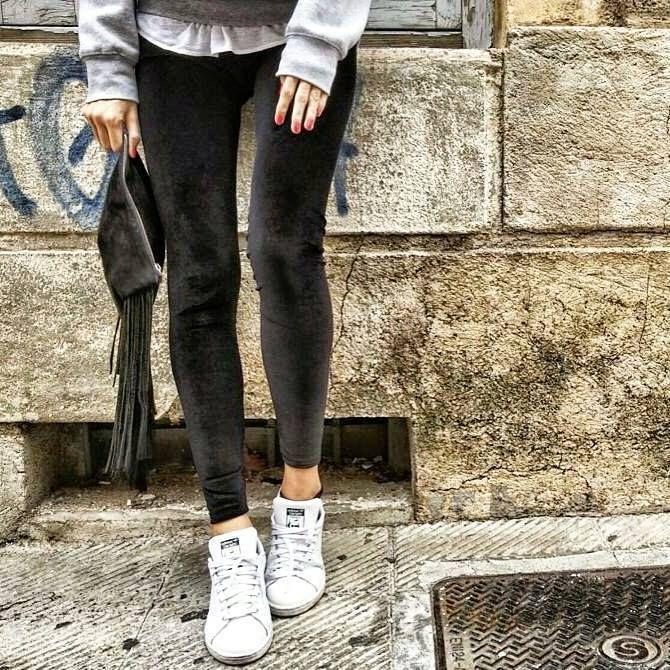 Premium velvet black leggings