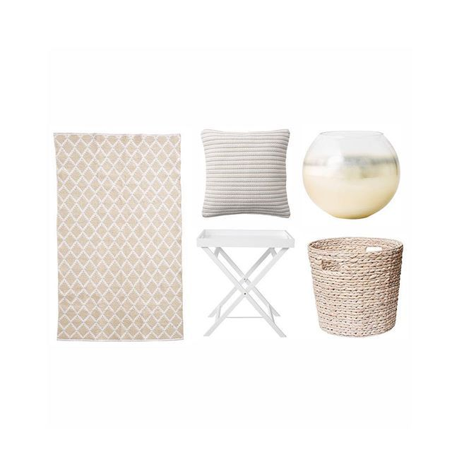 We're feeling the natural vibe with these items from @targetaus. Featured are the Diamond Floor Rug $39, Harper Weave Cushion in Natural $25, @i_am_lisat Indigo Small Sphere Vase in Ombré $20, Folding Tray Table $29, and the Hyacinth Large around Basket in White Wash $20. #target #targetaus #iamlisat #homedecor #homeinspo