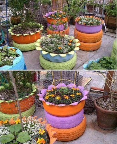 garden design made of recycled materials. Recycled Tiresthis Is A Really Cute Idea Flower And Garden Planter Made From Tires DIY Design Of Materials