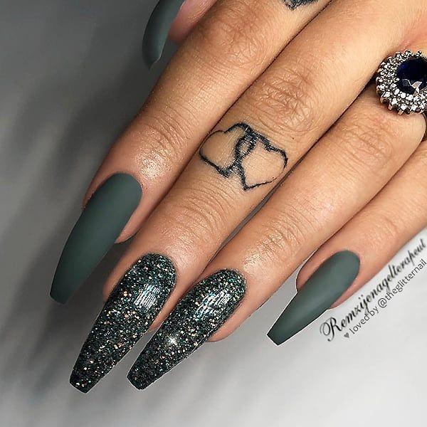 Theglitternail Get Inspired On Instagram Dark Matte Pine Green With Glitter On Long Coffin In 2020 Dark Green Nails Coffin Nails Long Winter Nails Acrylic