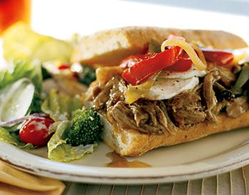 Find the recipe for Hot Slow-Roasted Pork, Onion, and Mozzarella Sandwiches and other pork recipes at Epicurious.com