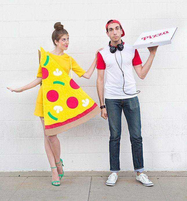 Dress up as pizza and a delivery boy this Halloween.