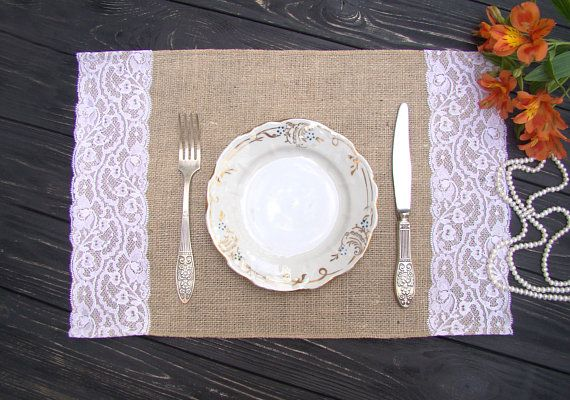 Burlap and lace Placemat Wedding Table Setting Rustic Table Topper Burlap placemat Hessian Table Runner Bohemian Overlay Farmhouse decor