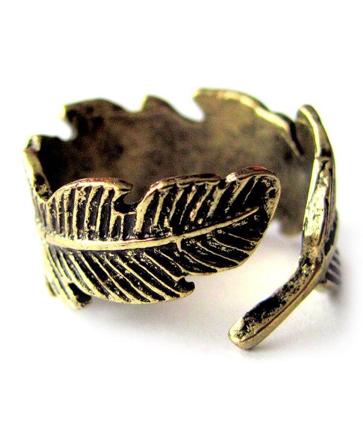 Look at this #zulilyfind! SWAKCouture Bronze Retro Feather Adjustable Ring by SWAKCouture #zulilyfinds