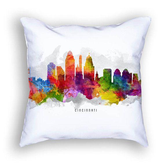 Elegant Cincinnati Pillow, 18x18, Cincinnati Skyline, Cincinnati Cityscape,  Cincinnati Art, Cushion,