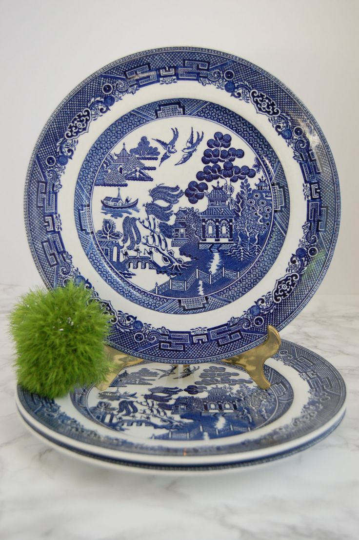 Blue Willow Dinner Plates Set 3 - Johnson Bros England Willow Plates - Asian \u2026 & 245 best Blue \u0026 White Porcelain images on Pinterest | Blue and white ...