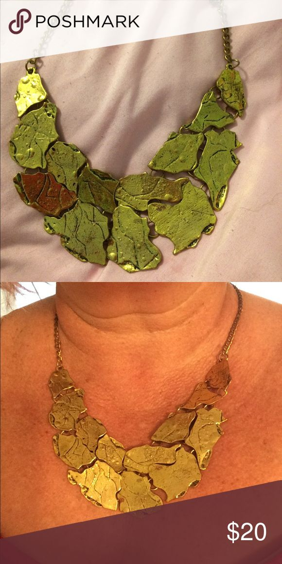 Chunky gold necklace Super funky chunky gold nugget style necklace. Big heavy piece. Lots of fun I've worn it a lot but I didn't see any rub marks. Great piece Jewelry Necklaces