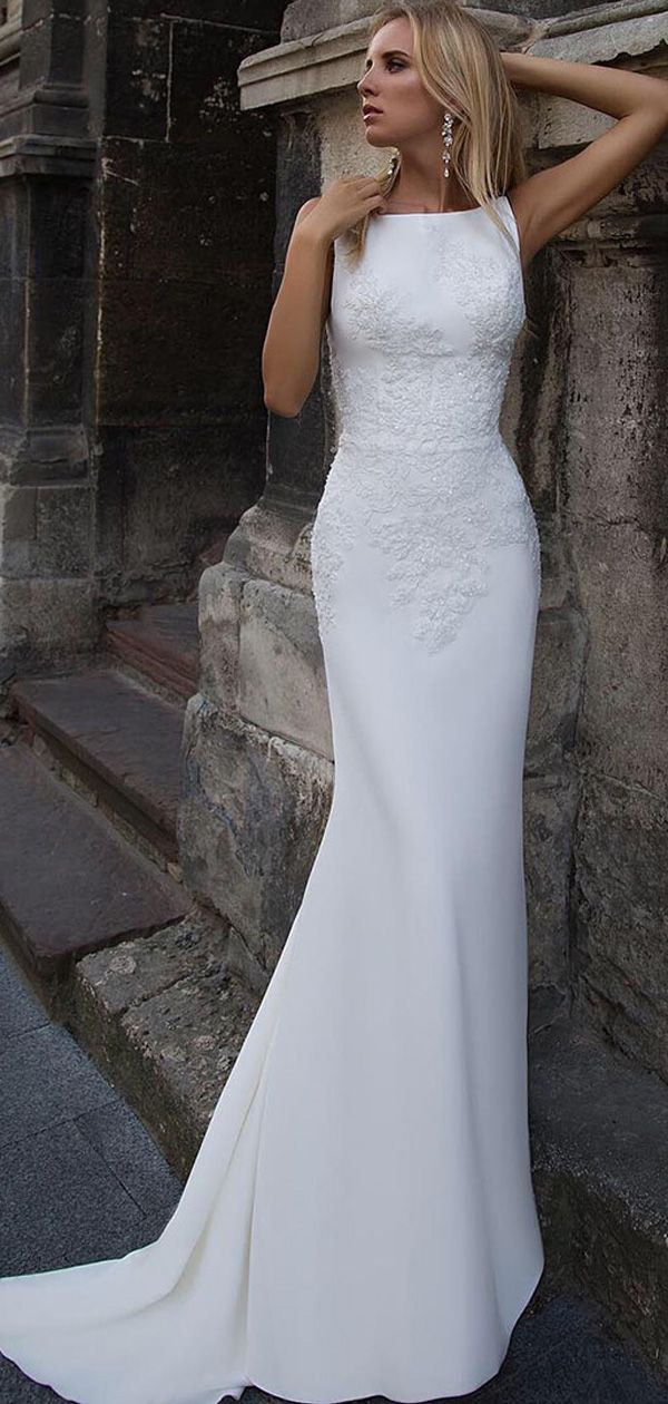 Magbridal Attractive Acetate Satin Bateau Neckline Mermaid Wedding Dress With Beaded Lace Appliques