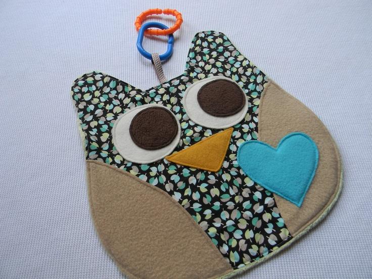 Baby Owl Lovey Blanket - security blanket toy. $13.00, via Etsy.