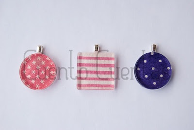 Glass tile pendants with fabric... For wine charms?