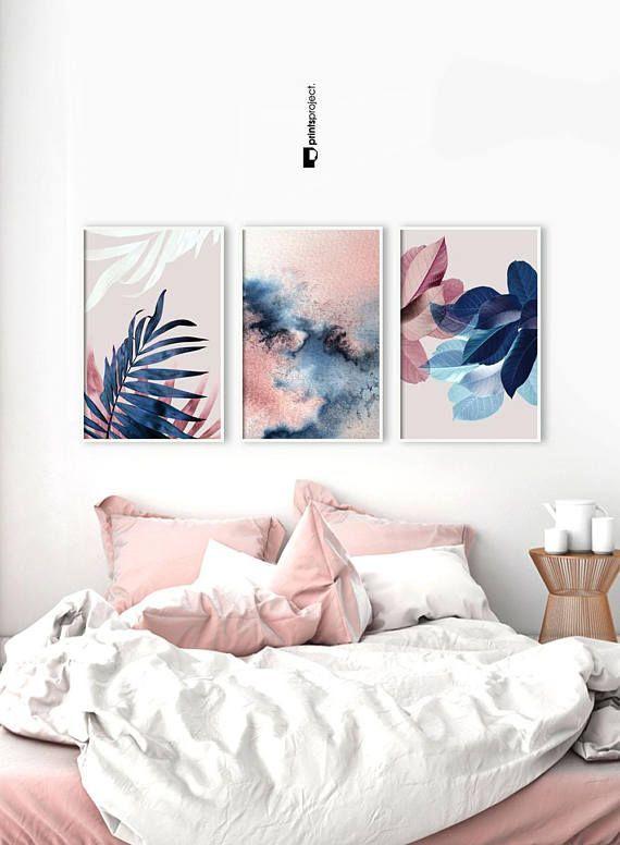 Set Of 3 Wall Art Botanical Prints Navy Blue Leaf Blush Pink