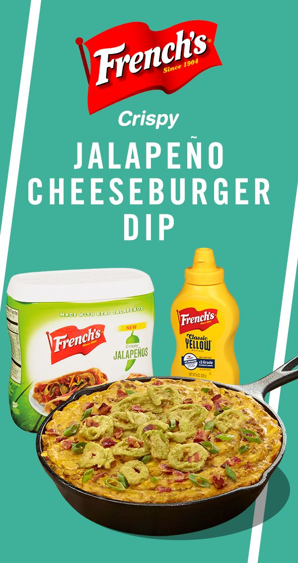 Feeding a crowd? Complete your football party spread with French's Jalapeno Cheeseburger Dip recipe.