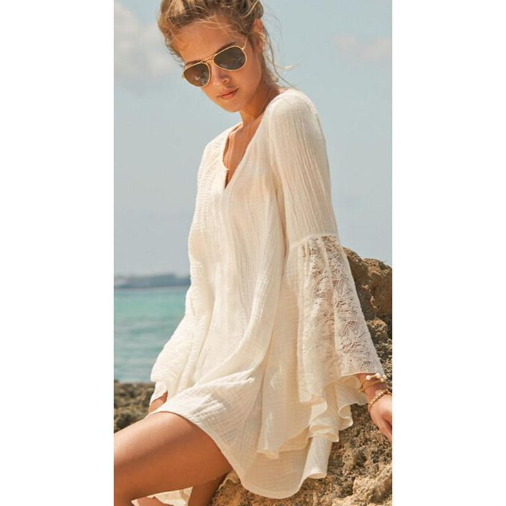 Beautiful Casual Lace Bell-Sleeve V-Neck Cotton Beach Cover Up One Size