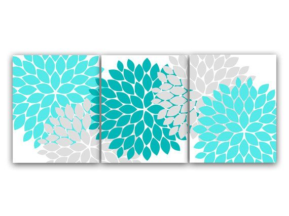 Home Decor Wall Art, Aqua and Gray Flower Burst Art, Bathroom Wall Decor, Teal Bedroom Decor, Nursery Wall Art - HOME45
