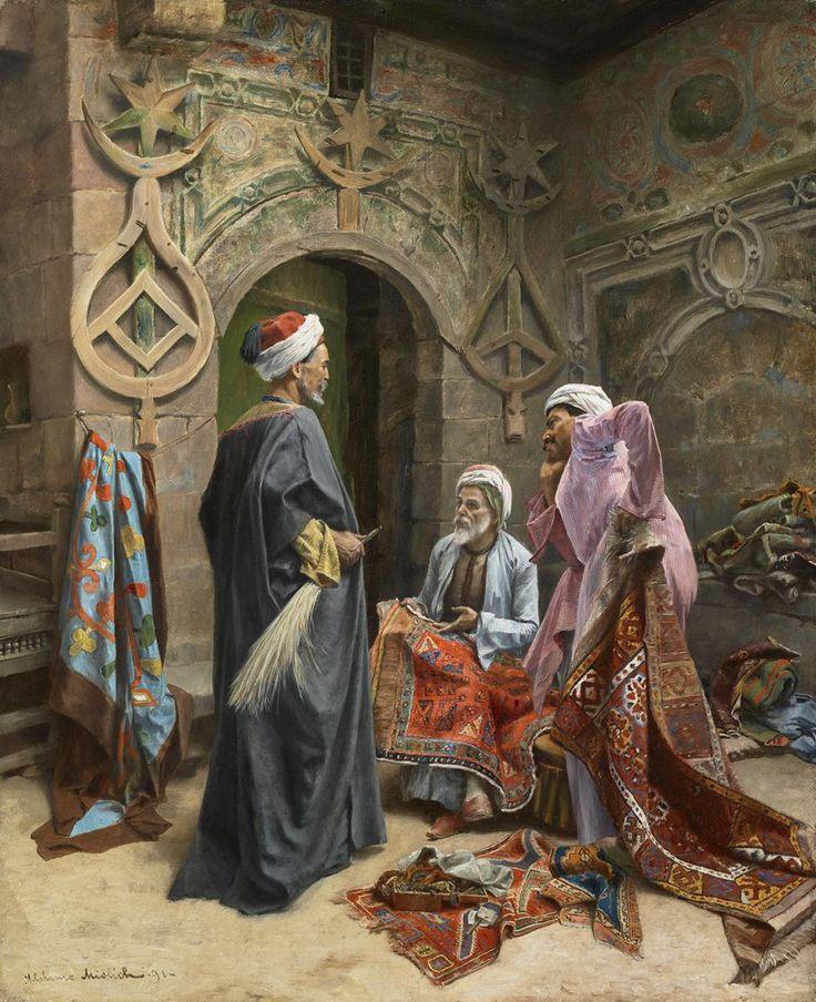Alphonse Mielich  (1863-1929) Le marchand de tapis Huile  sur toile signée et datée 1891 en bas à gauche 61 x 50 cm - Galerie Ary Jan