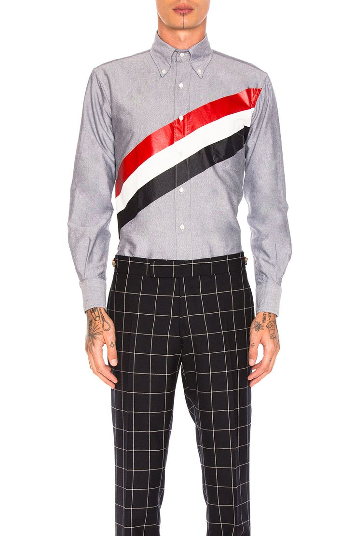 Thom Browne Printed Diagonal Stripe Oxford Shirt in Navy | FWRD