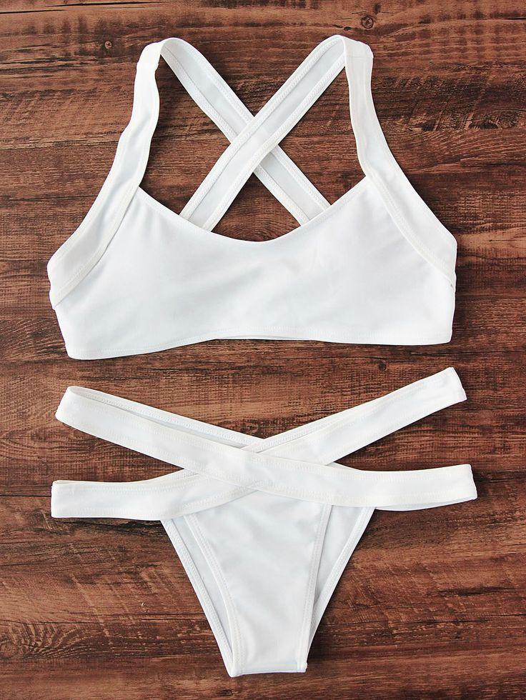 ¡Cómpralo ya!. Cross Back Side Cutout Bikini Set. White Bikinis Vacation Push Up Polyester YES Swimwear. , bikini, bikini, biquini, conjuntosdebikinis, twopiece, bikini, bikini, bikini, bikini, bikinis. Bikini  de mujer   de SheIn.