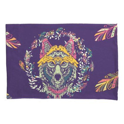 #Colorful Tribal Wolf Dreamcatcher Pillow Case - #Pillowcases #Pillowcase #Home #Bed #Bedding #Living