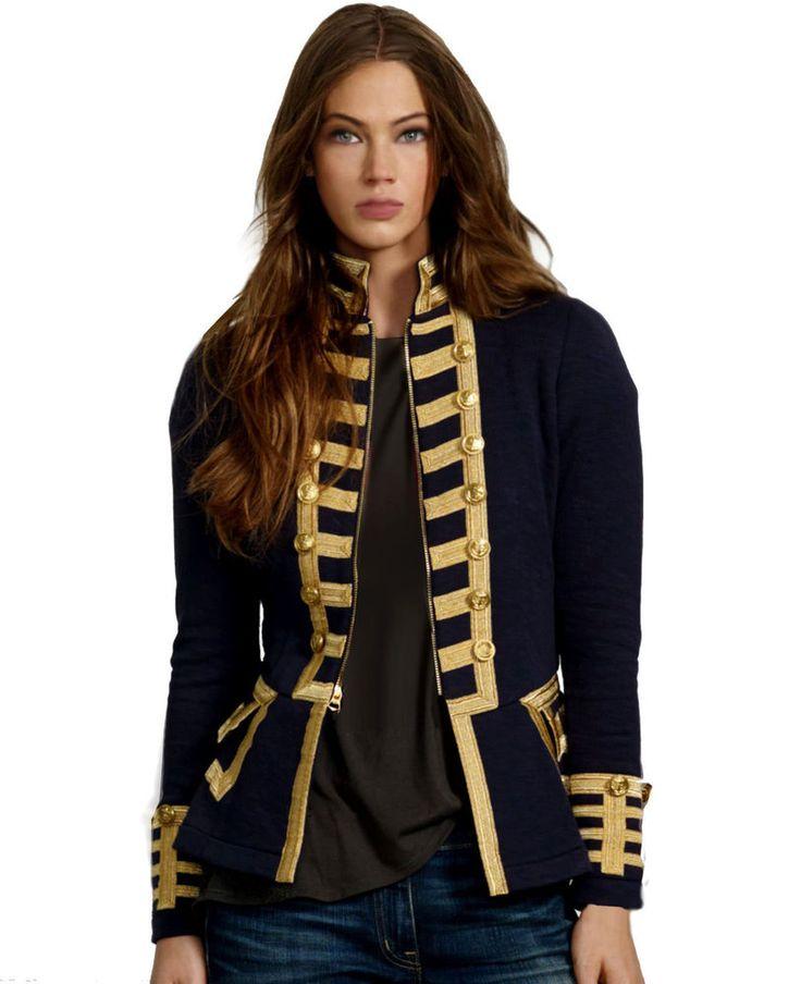 Denim&Supply Ralph Lauren Zip Front Braided Military Blazer Jacket Coat $198 NWT #RalphLauren #jacketcoat