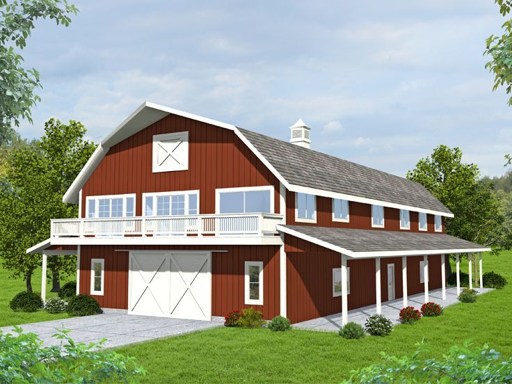 012G-0137: Barn-Style Garage Apartment Plan with Boat ...