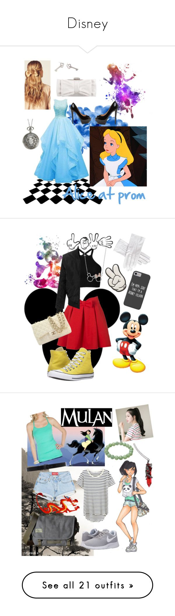 """""""Disney"""" by zebralover-333 ❤ liked on Polyvore featuring Disney, Sian Bostwick Jewellery, Hershesons, Judith Leiber, WithChic, Converse, LE3NO, Anya Hindmarch, Chanel and Black"""