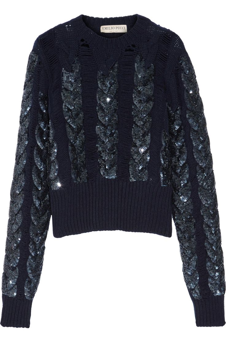 Emilio Pucci | Distressed sequin-embellished cable-knit wool sweater | NET-A-PORTER.COM