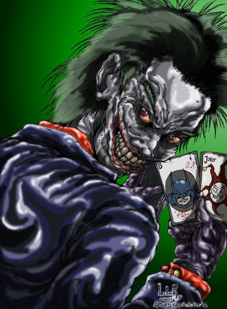 Joker - FanArt - inspirado en la clásica ilustración de Bob Kane y en la portada ilustrada por Dugh Mahnke para The Man Who Laughs. - Ilustración en Hoja A4 - Lápiz 2B - Estilógrafo 0.1 - Color Digital con GIMP 2.8 + Wacom Bamboo Connect