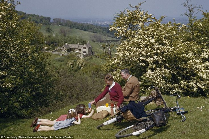 A family go for a 1953 picnic in the Cotswolds by bicycle. A Thermos of tea for Mum and Dad and pop for the kids