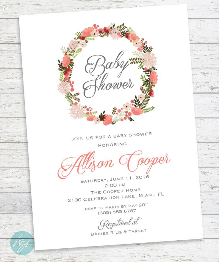 Baby Shower Invitation, Elegant Baby Shower, Shabby Chic, Southern Charm, Flowers Baby Shower, DIGITAL PRINTABLE FILE by FlairandPaper on Etsy