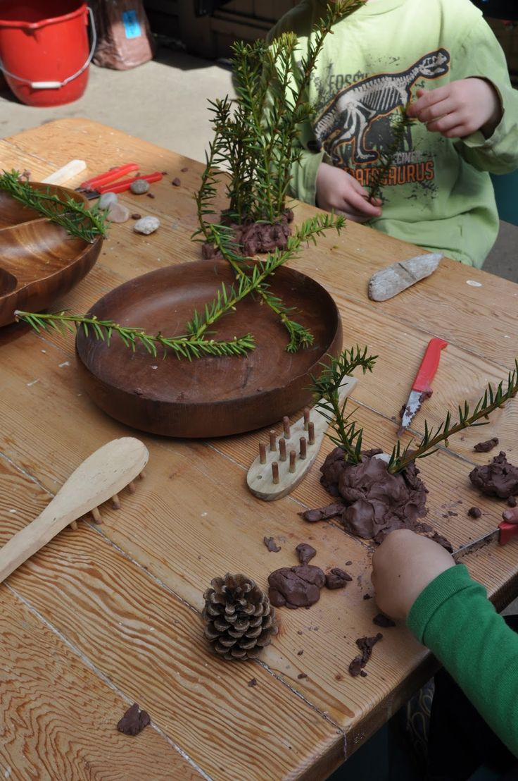 Using natural materials with clay - from Stomping in the Mud