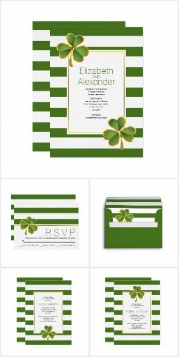 Irish clover green and white stripes wedding Green and white stripes and clover or shamrock Irish wedding invitations and coordinating items collection. Fun wedding invites. Customize your invitation. #invitations #invites #weddings