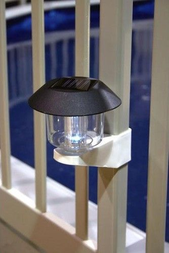 Solar Powered Fence Light for Above Ground Pools -- could work for a deck?