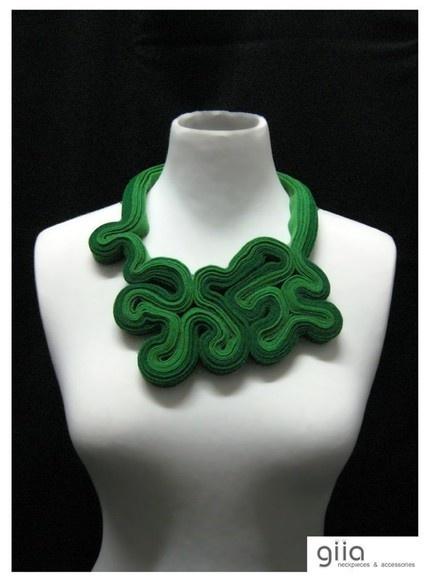Green Felt Statement Necklace