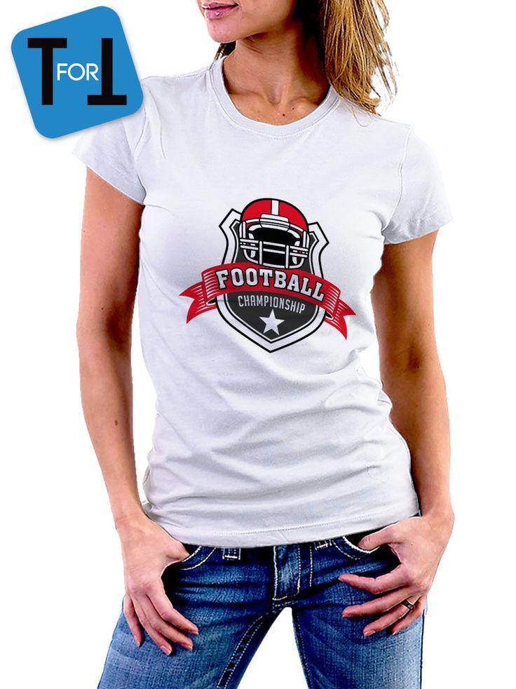 FOOTBALL CHAMPIONSHIP - T-shirt blanc  Femme - sportive ! Tshirt cadeau • American football de la boutique teeFORtea sur Etsy
