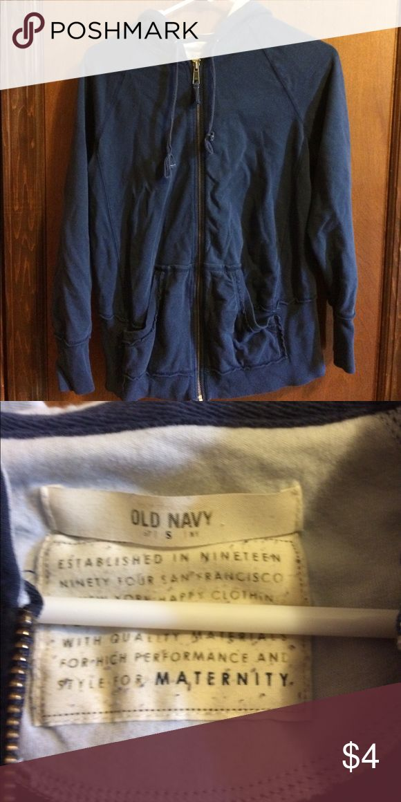 Old Navy maternity zip up hoodie Worn a lot but still has life left in it. Very stretchy. Pet free and smoke free home Old Navy Tops Sweatshirts & Hoodies
