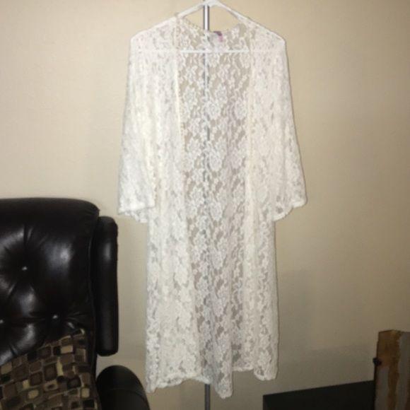 White lace Kimono White Kimono Mauve Tops Tunics