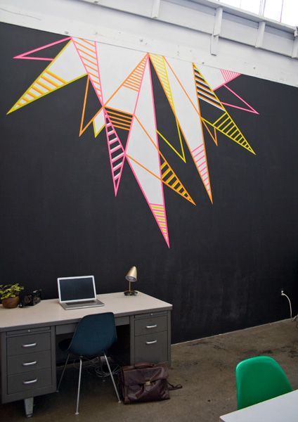 Office Installations : Bramble Workshop: Painted Wall Design, Washi Tape Wall Design, Geometric Painting, Art Room, Washi Tape Frame, Wood Frames