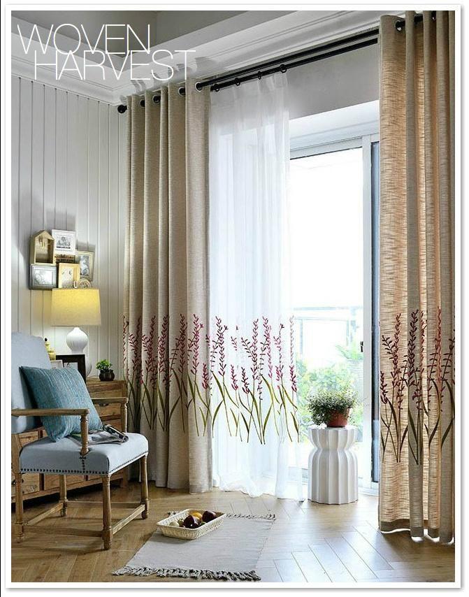Tan Linen Flower Custom Sheer Blackout Curtain Set Curtains