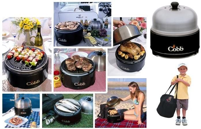 Cobb Grill: we use one of these at our caravan....BBQ, roaster and baking all in one. Worth every penny!