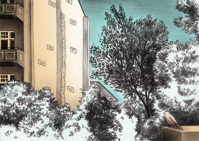 """Gabriella Giandelli: Milano - Berlino  Siamo tornati a vedere """"the missing house"""" di Christian Boltansky in Grosshamburger Strasse, è strano d'estate con gli alberi del cortile così colmi di foglie."""