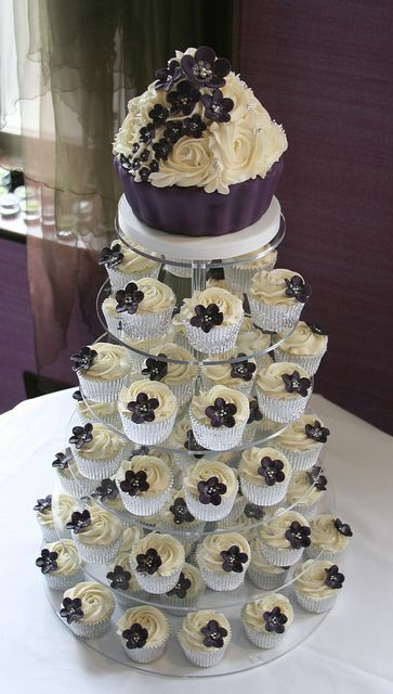 Dark purple wedding cupcake tower by The Clever Little Cupcake Company (Amanda), via Flickr