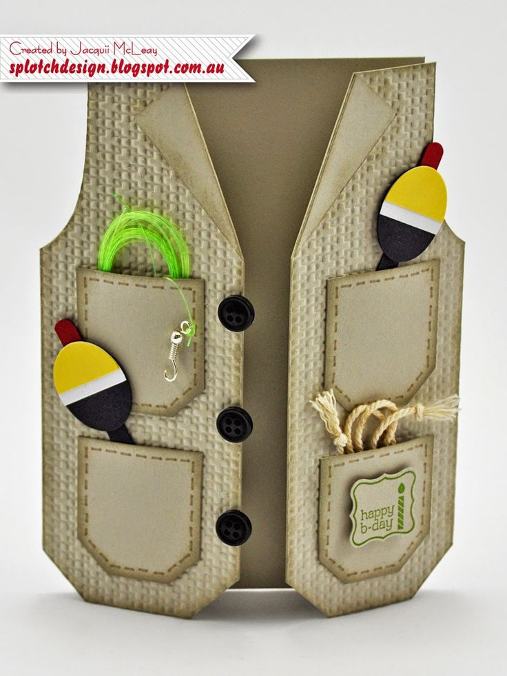 Masculine Fishing Card. This vest shaped card would be an adorable Father's Day card.