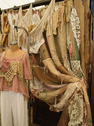 drapes out of burlap and doilies