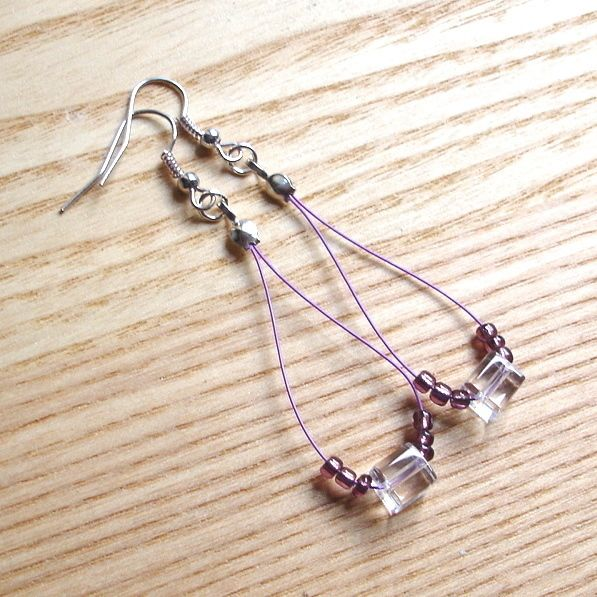 Cute Cubes Purple Loop Bead Earrings, Pretty Stocking Filler for Her £3.50