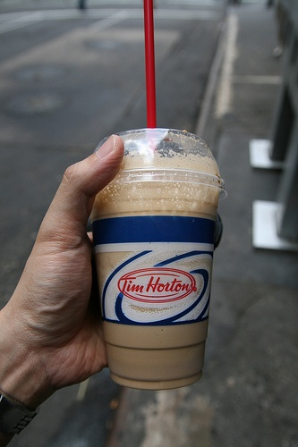 TIM HORTONS ICED CAPP // Ingredients:  10 to 12 Ice Cubes   1 Tbs instant coffee   2 Tbs Nestles Quick or any chocolate drink mix.   (You can use Liquid chocolate mix as substitute   3 Tbs white sugar or 2 pkgs of sweetener   2 oz boiling water   3 cups ice cold milk or 1/2 and 1/2 ( I use half N' half) or just enough to Float the Ice Cubes in a blender    //   Method:  In a blender, place chocolate, coffee, sweetener, boiling water in a blender and blend on low until dissolved.   Add Ice…